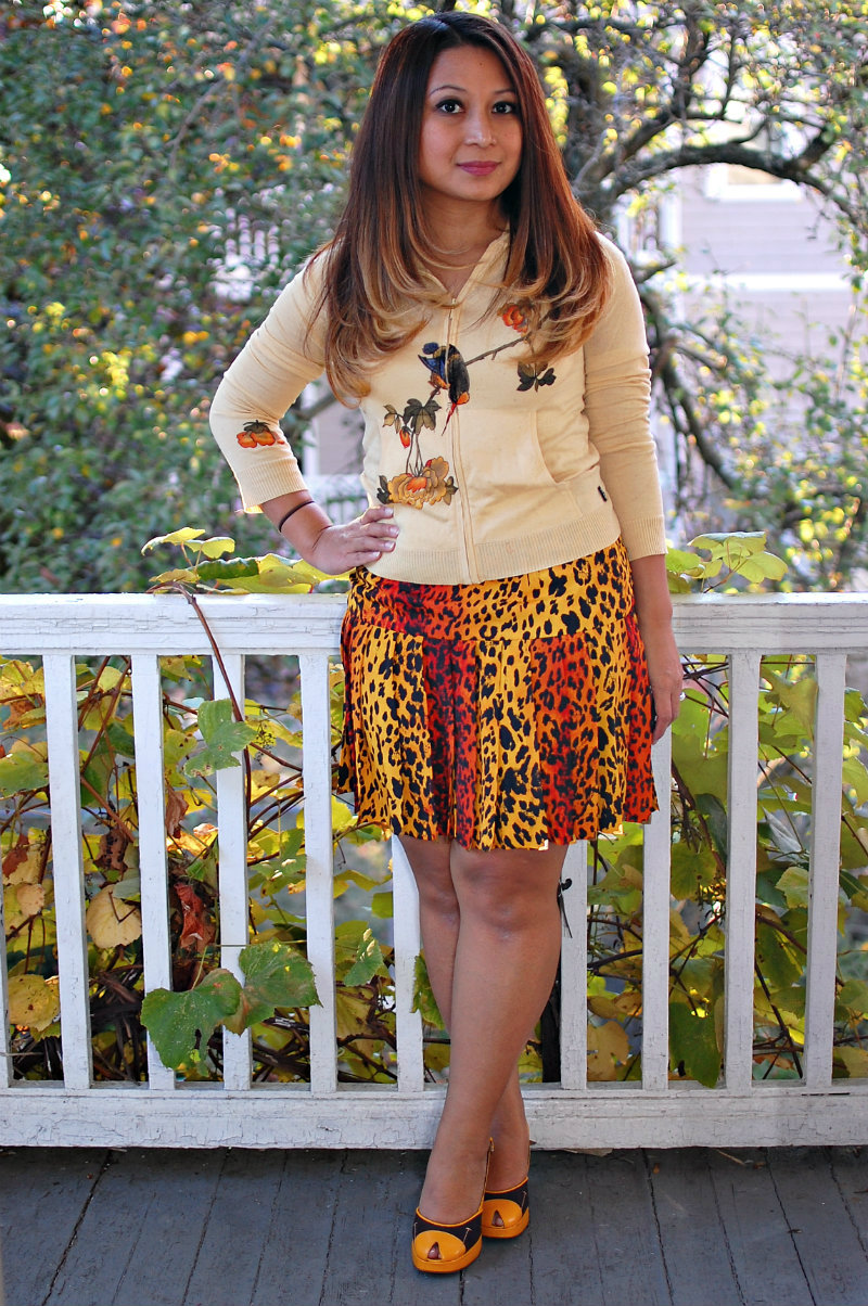 bcbg yellow sweater, silk sweater, versace h&m skirt, versace leopard skirt, orange, yellow, prada heels
